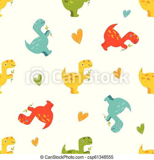 Brigt seamless pattern with cute dinos - csp61348555