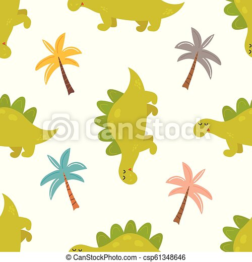 Brigt seamless pattern with cute dinos - csp61348646