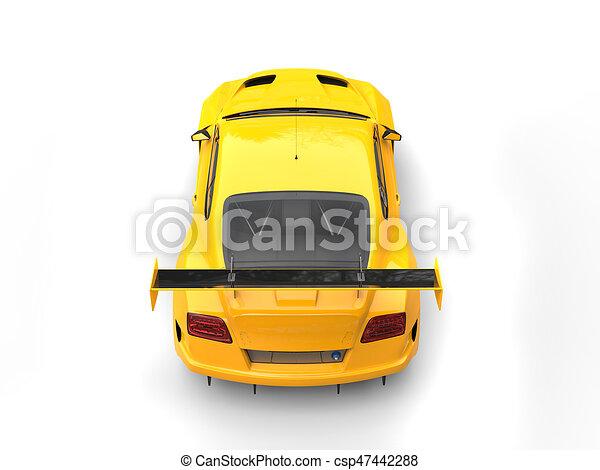 Brihgt Yellow Modern Sport Super Car Top Back View