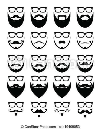 bril, baard, hipster, iconen - csp19409053