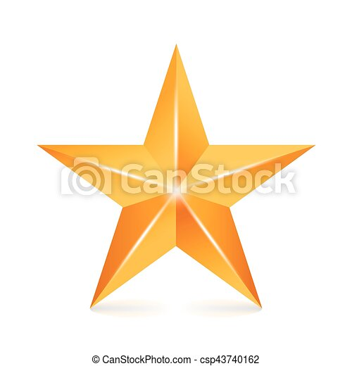 brilho, dourado, sinal., star., símbolo., amarela, isolado, decoração, experiência., vetorial, branca, 3d, realização, ícone - csp43740162