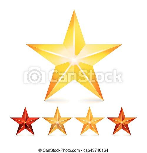 brilho, symbols., estrela, realístico, set., isolado, decoração, experiência., vetorial, branca, 3d, realização, ícone - csp43740164