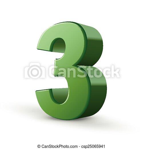 3D verde brillante número 3 - csp25065941