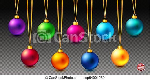 Un set de nueve brillantes, brillantes y realistas bolas navideñas colgando de fondo transparente. - csp64001259