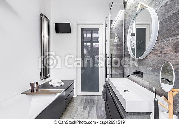 Brillante, cuarto de baño, pequeño. Cuarto de baño, azulejos, de ...