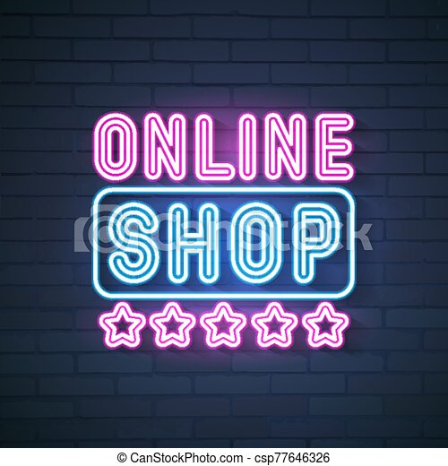 brillante, en línea, signboard, banner., tienda, neón, emblema, neon., señal, sexy, label., vector, logotipo, fresa, luz, cantar, baya - csp77646326
