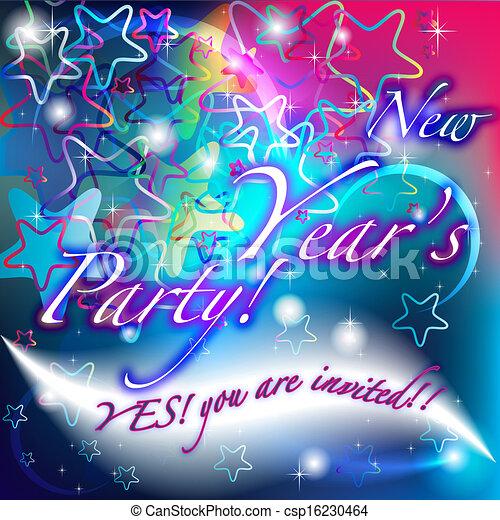 brillante, nuovo anno, stelle, invito, festa - csp16230464