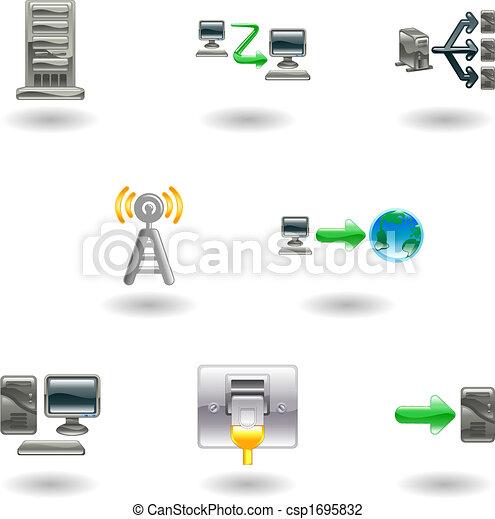 Un icono de la red de computadoras brillante - csp1695832