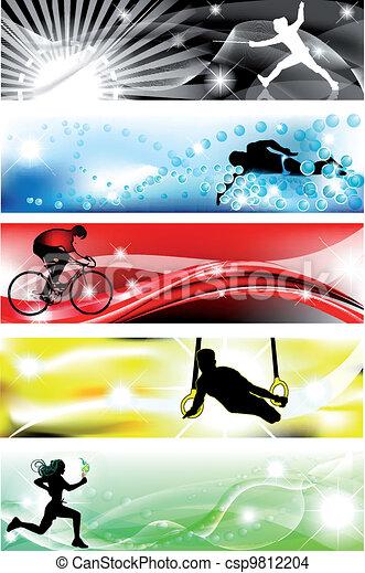 brillante, sport, colori, cinque, 5, bandiera - csp9812204