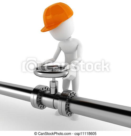 Un trabajador de 3D y una tubería brillante - csp11118605