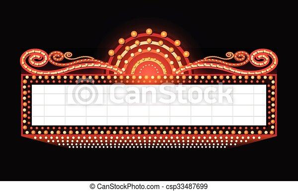 brillantemente, teatro, cinema, segno neon, ardendo, retro - csp33487699