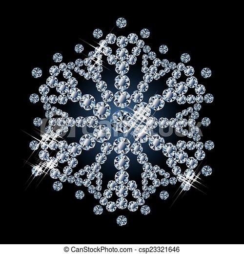 Brilliant diamond snowflake, vector - csp23321646