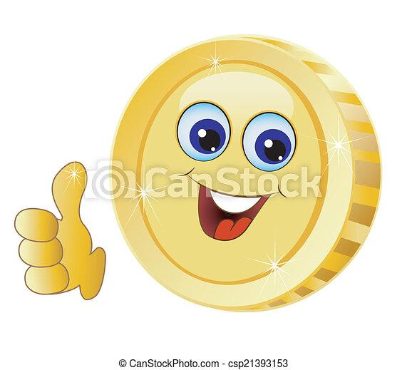brilliant gold coin - csp21393153
