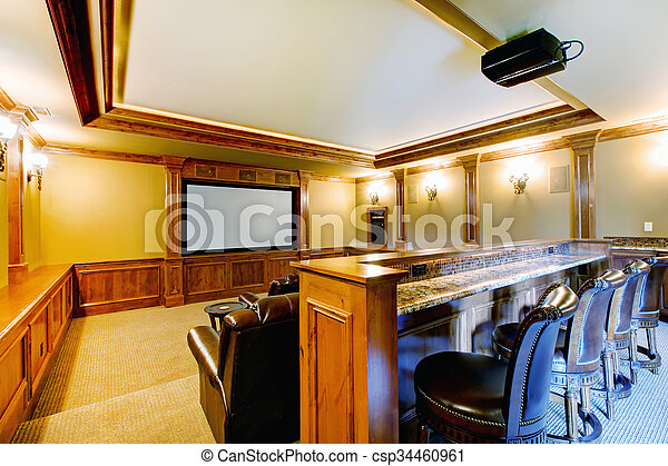 Brilliant home theater with bar. - csp34460961