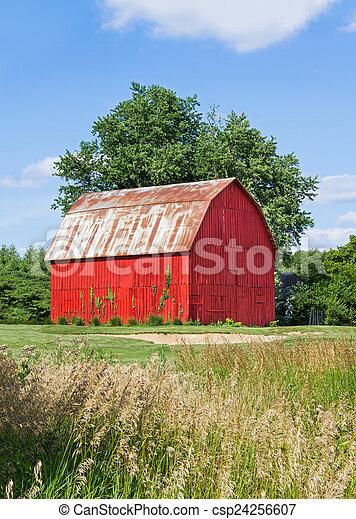 Brilliant Red Barn - csp24256607