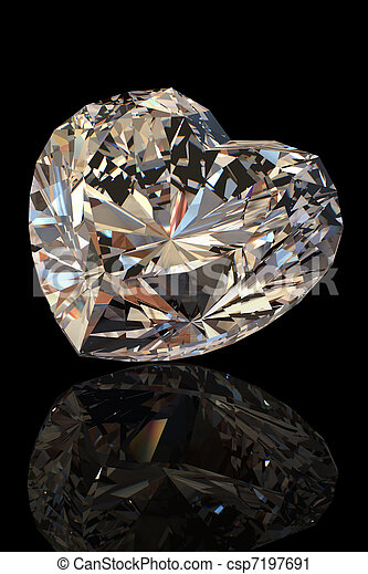 Brilliant shape of heart. Cognac diamond  - csp7197691