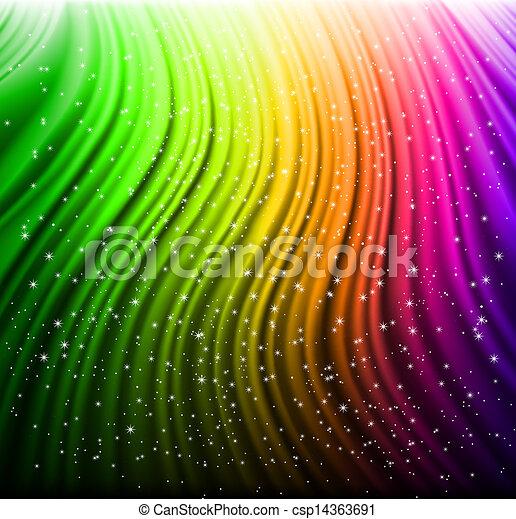 El arco iris brilla con estrellas. Vector - csp14363691