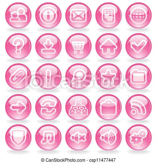 brillo, rosa, vidrio, botones - csp11477447