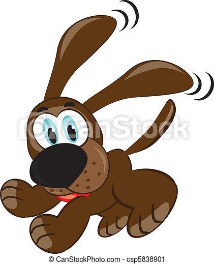 brincalhão, cute, filhote cachorro, marrom - csp5838901