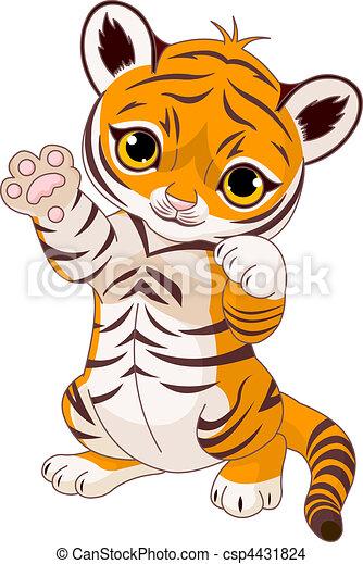 brincalhão, cute, filhote tigre - csp4431824