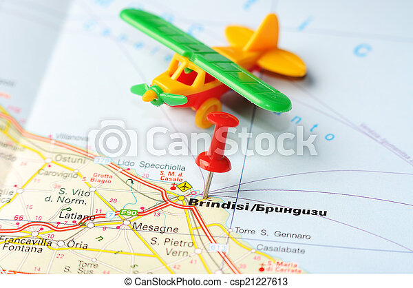 Brindisi italy map airplane Close up of brindisi italy stock