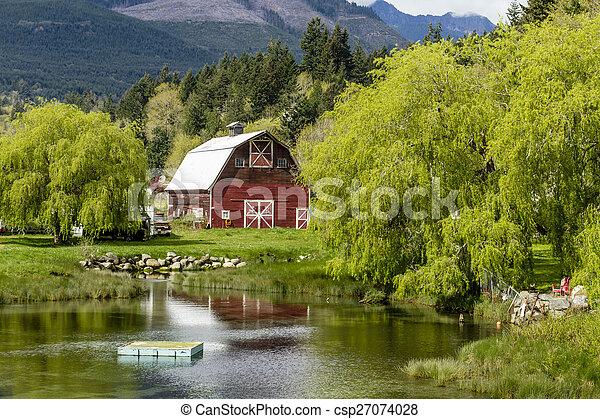 Brinnon Washington Barn by Pond - csp27074028
