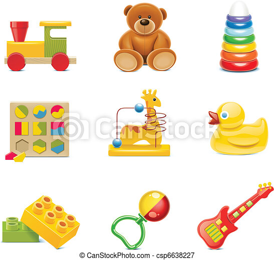 brinquedo bebê, icons., vetorial, brinquedos - csp6638227
