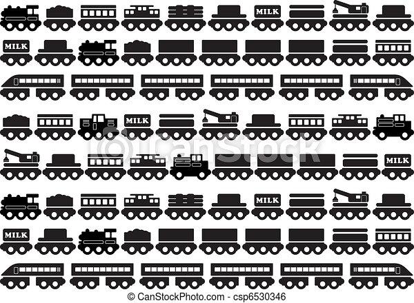 brinquedo madeira, trem, ícone - csp6530346