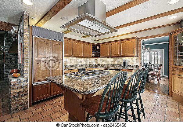 Brique, bois, cuisine. Brique, bois, chêne, cabinetry, cuisine.