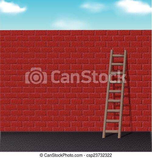 brique, penche, échelle, mur, rouges - csp23732322