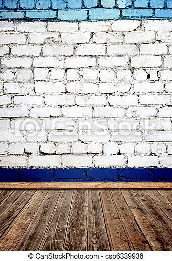 brique, vieux, bois, mur, plancher, salle - csp6339938