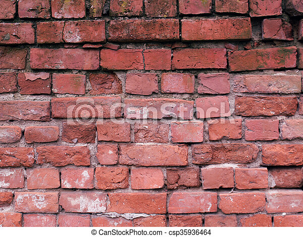 briques, arrière-plan rouge - csp35936464