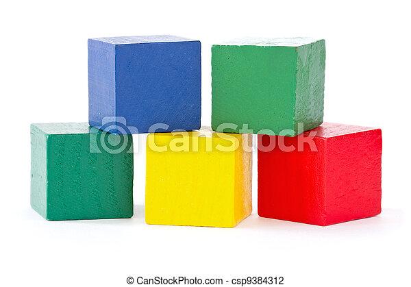 briques, carrée, bois, couleur - csp9384312