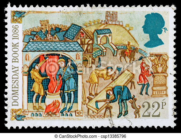 Britain Domesday Book Postage Stamp - csp13385796