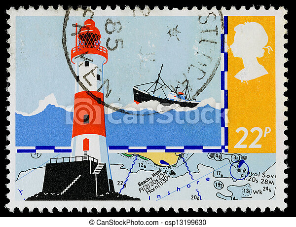 Britain Safety at Sea Postage Stamp - csp13199630