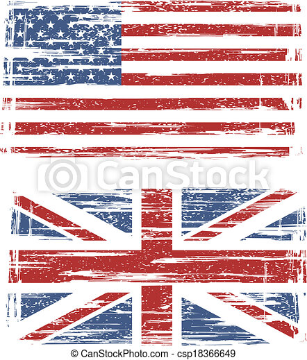 British and American grunge flags. Vector - csp18366649