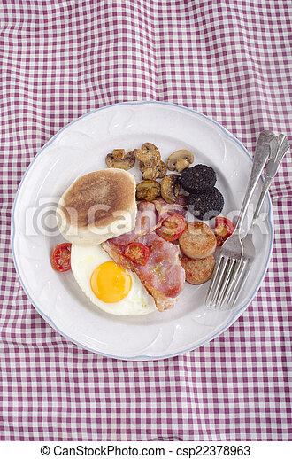 british breakfast muffin on a plate - csp22378963