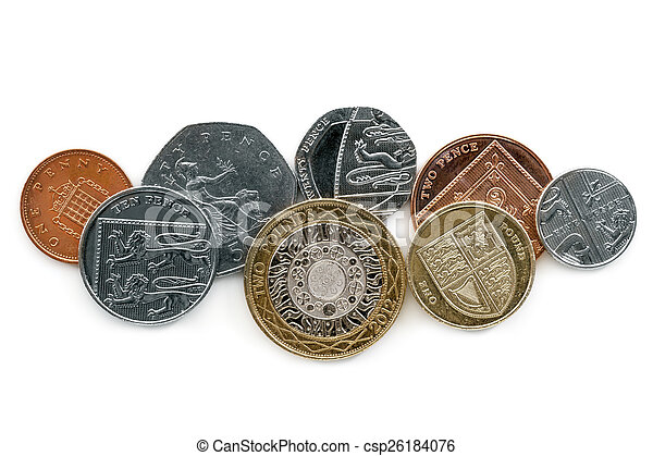British coins Isolated on White Background - csp26184076