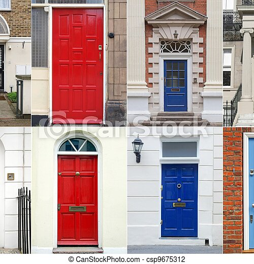 British doors - csp9675312 & Set of traditional colourful british doors from england and... stock ...