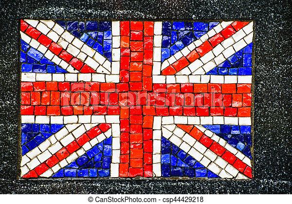 British flag made of little mosaic tiles - csp44429218