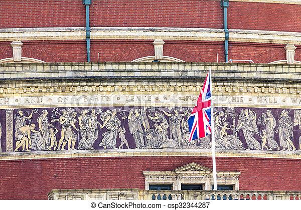 British flag on Royal Albert Hall background. London, UK - csp32344287