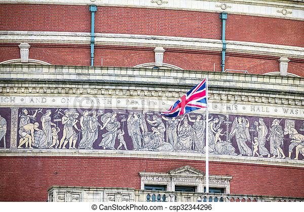 British flag on Royal Albert Hall background. London, UK - csp32344296