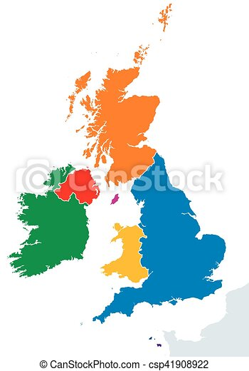 British Isles countries silhouettes map - csp41908922