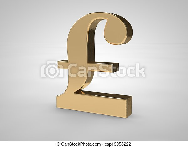 3d British Pound Symbol Isolated On White In Gold