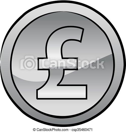 British pound sterling coin vector - csp35460471