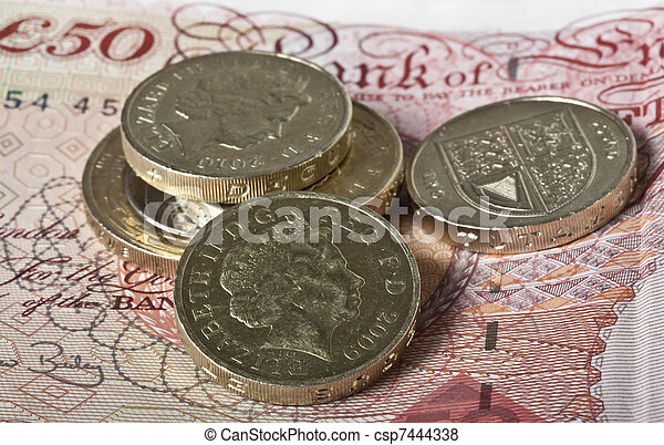British pounds notes and coins