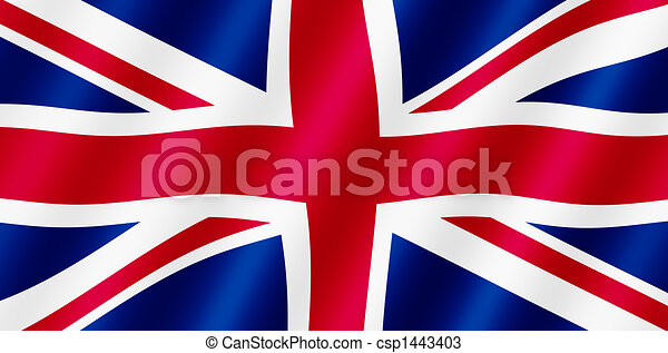 British Union Jack flag blowing in the wind illustration. - csp1443403
