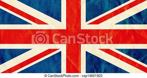 British Union Jack flag on old textured paper. - csp14601923