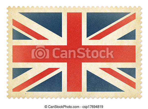 Brittish postage stamp with The Great Britain flag isolated. Clipping path is included. - csp17694819
