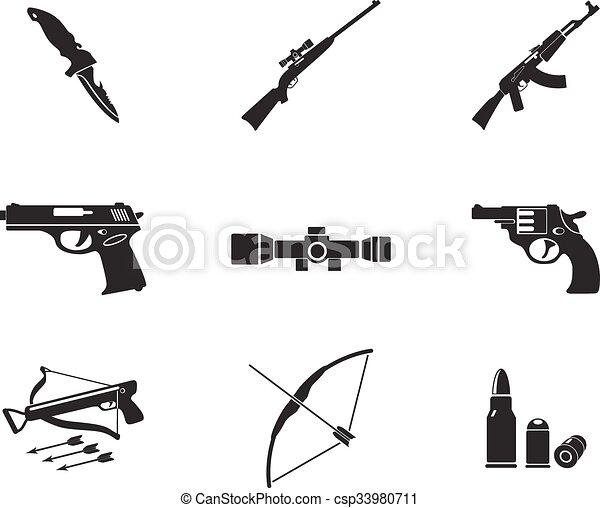 broń, prosto, ikony - csp33980711